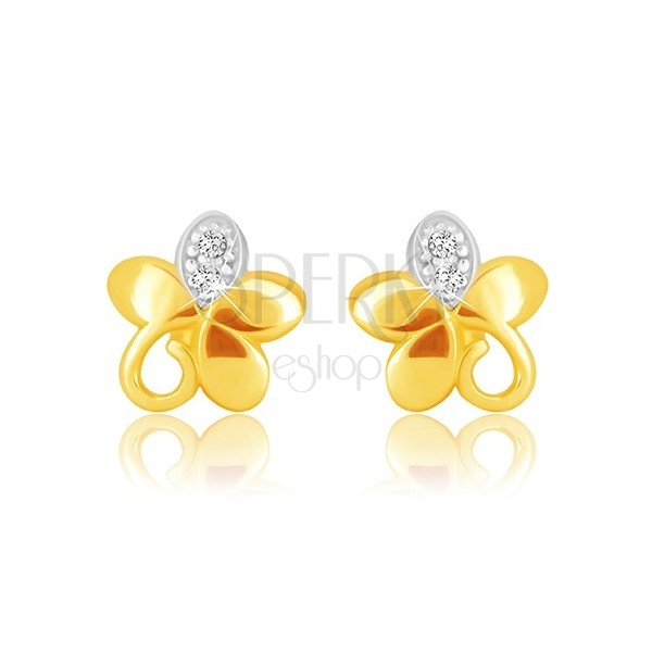 Náušnice v 9K kombinovanom zlate - kvet s piatimi lupeňmi, špirálou a zirkónikmi