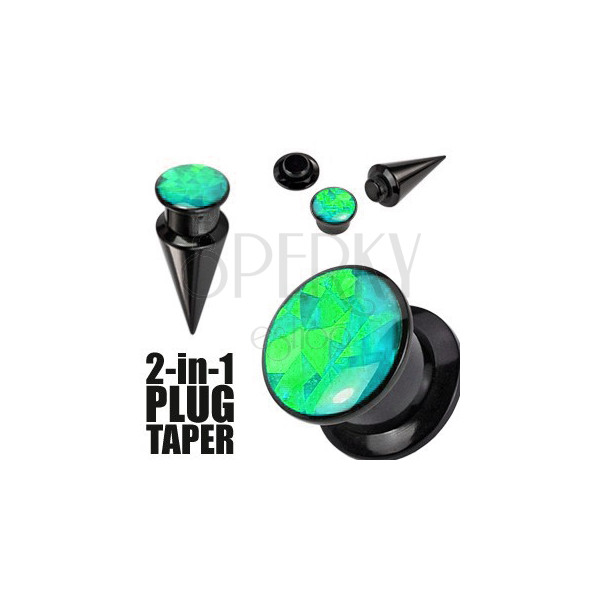 Expander a plug v čiernom farebnom odtieni - čierna a zelená skrutka