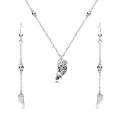 Šperky eshop - Strieborný set 925 - náušnice a náhrdelník, anjelské krídlo a lesklé guličky R47.26