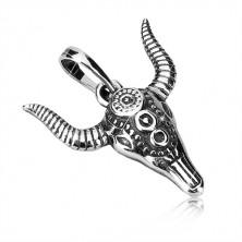 Strieborná 925 sada - prívesok a náušnice, hlava býka s ornamentmi a patinou