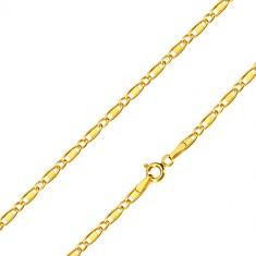 Šperky eshop - Retiazka zo žltého 14K zlata - oválne očká, podlhovasté očká s obdĺžnikom, 450 mm GG100.37