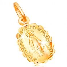 Prívesok zo žltého zlata 18K - obojstranný medailónik s Pannou Máriou