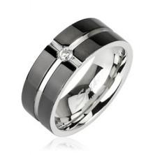 Oceľový prsteň - vzor kríž, zirkón uprostred