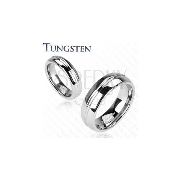 Tungstenový prsteň, vrytý stredový pruh