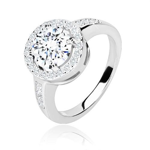 Zásnubný prsteň zo striebra 925 - okrúhly zirkón s trblietavým lemom, lesklé ramená - Veľkosť: 50 mm