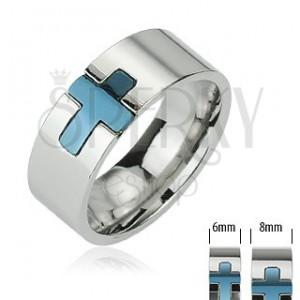 Oceľový prsteň - modrý kríž
