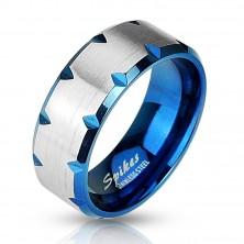 Oceľový prsteň modrý - zárezy na okraji