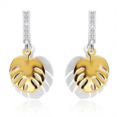 Šperky eshop - Strieborné náušnice 925 - dvojfarebné prívesky s motívom listu, zirkónová línia AB11.19