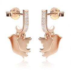 Šperky eshop - Strieborné náušnice 925 - dva prívesky s motívom vtáčika, zirkónová línia, medené farebné prevedenie AB09.04
