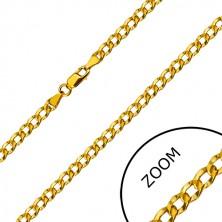 Zlatá retiazka 585 - sériovo napájané oválne očká s priehlbinkami, 450 mm