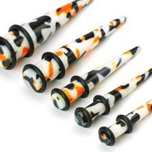 Plug do ucha biely, čierno-oranžové škvrny