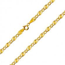 Zlatá retiazka 585 - ploché očká, lúčovité zárezy, šesťuholníkové očká, 550 mm