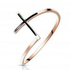 Oceľový prsteň 316L medenej farby - kríž s čiernou glazúrou, úzke ramená