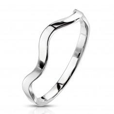 Oceľový prsteň striebornej farby - motív vlnky, úzke lesklé ramená