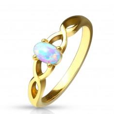 Oceľový prsteň zlatej farby - opál  s dúhovými odleskami, prepletené ramená