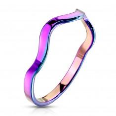 Prsteň z ocele v dúhovom farebnom odtieni - motív vlnky, úzke ramená