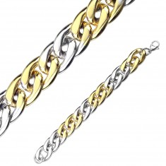 Náramok z ocele v dvojfarebnej kombinácii - oválne očká, zapínanie na karabínku, 12 mm
