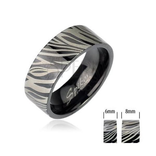 Oceľový prsteň - čierna zebra