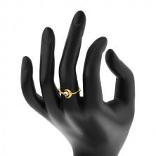 Prsteň v žltom 9K zlate - polmeciac so zirkónikom, okrúhly zirkón v tvare kabošonu