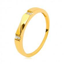Zlatý prsteň 585 - číre zirkóny, lesklá vlnka, hladké ramená, 3 mm