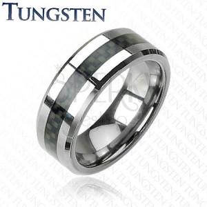 Tungstenový prsteň s pásom, motív vlákna