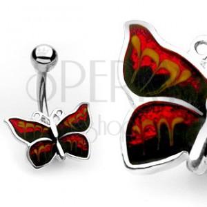 Piercing do pupku - trblietavý motýľ
