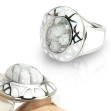 Dámsky prsteň z ocele - White Murano