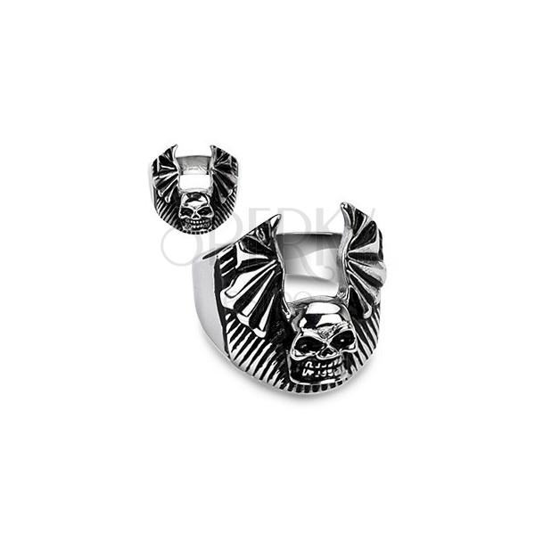 Prsteň z chirurgickej ocele - lebka, netopierie krídla