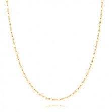 Zlatá retiazka 375 - tri drobné a jedno podlhovasté očko, 600 mm