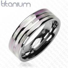 Titánový prsteň - tri perlové pruhy