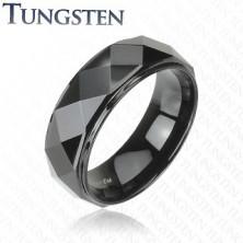 Wolfrámový prsteň - čierny, skosené hrany