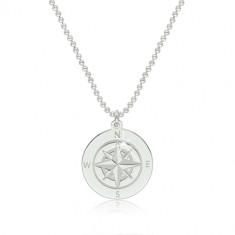 Strieborný 925 náhrdelník - obrys kruhu s vyobrazeným kompasom a svetovými stranami