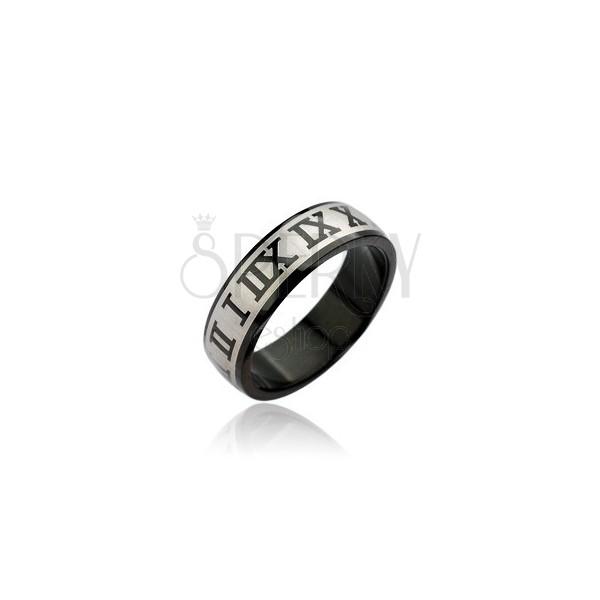 Prsteň z chirurgickej ocele - čierny, rímske číslice