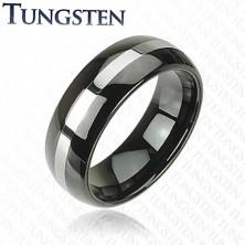 Elegantný wolfrámový prsteň - čierny, pás striebornej farby, 8 mm