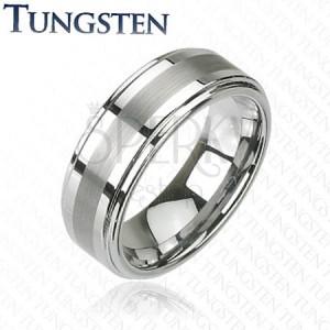 Wolfrámový prsteň - striebornej farby, jemne brúsený pás