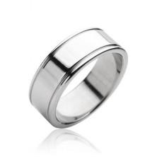 Oceľový prsteň hladký matný, lesklé okraje