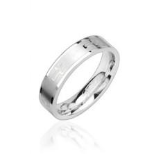 Oceľový prsteň lesklý, krížiky