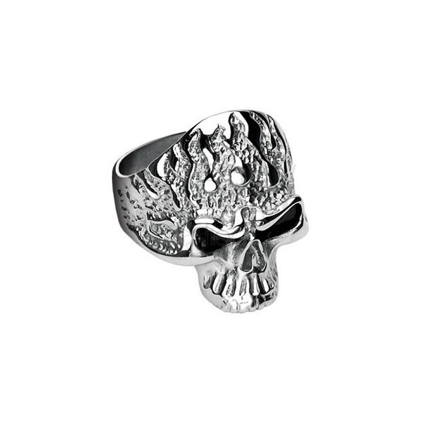 Prsteň z chirurgickej ocele, lebka s plameňmi