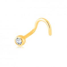 Zlatý 585 zahnutý piercing do nosa - číry ligotavý zirkón v objímke