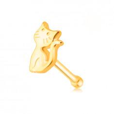 Piercing do nosa zo žltého zlata 585 - mačička so zdvihnutým chvostíkom
