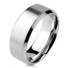 Prsteň z ocele - matný pásik v strede, lesklé línie po okrajoch, 6 mm