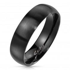 Prsteň z ocele v čiernom farebnom odtieni - široké ramená s matným povrchom, 6 mm