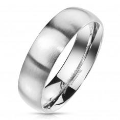 Prsteň z ocele v striebornom farebnom odtieni - matný povrch, 6 mm