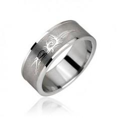 Šperky eshop - Prsteň z chirurgickej ocele - Tribal symbol, ornament H11.5/H11.6/H11.7 - Veľkosť: 65 mm