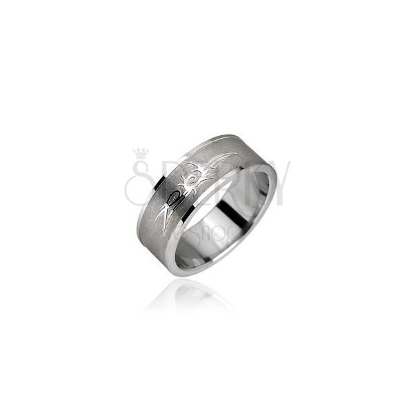 Prsteň z chirurgickej ocele - Tribal symbol, ornament