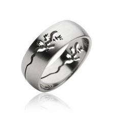 Prsteň z chirurgickej ocele - vyrytá jašterička