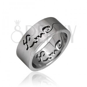 Prsteň z chirurgickej ocele - vyrytý nápis LOVE