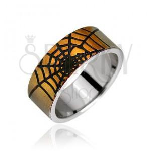 Prsteň z chirurgickej ocele - pavučina a srdce zlatej farby