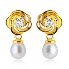 Puzetové náušnice v 14K žltom zlate - kvet s prepletenými lupeňmi, číry zirkónik, biela perla