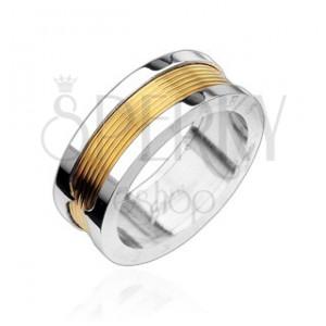 Prsteň z chirurgickej ocele - stredový pás v zlatej farbe